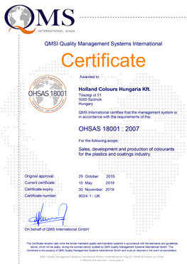 holland colours hungary ohsas 18001